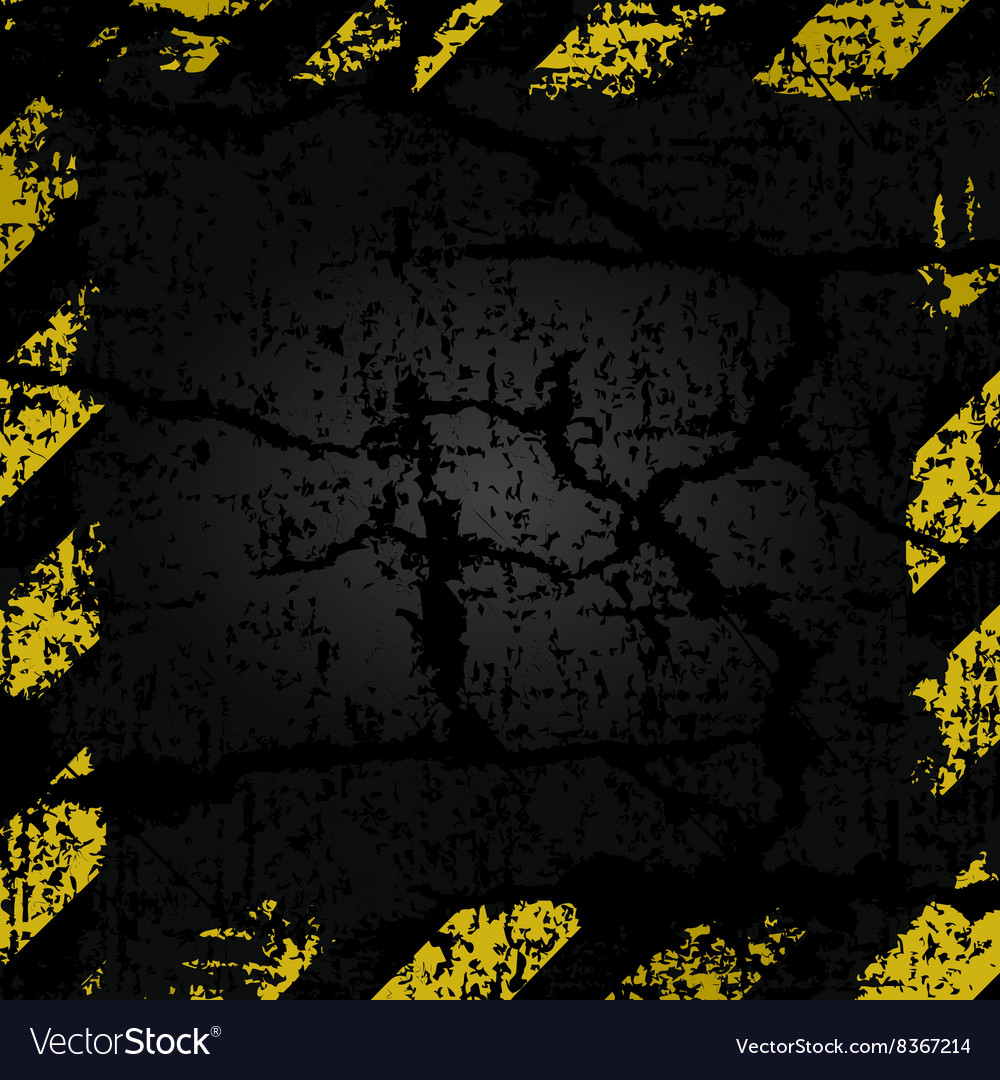 Old shabby frame with yellow and black stripes vector