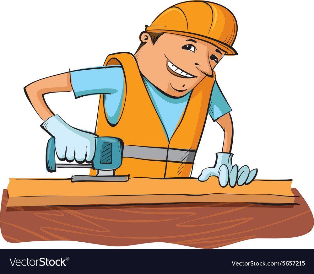 Builder with electric saw vector