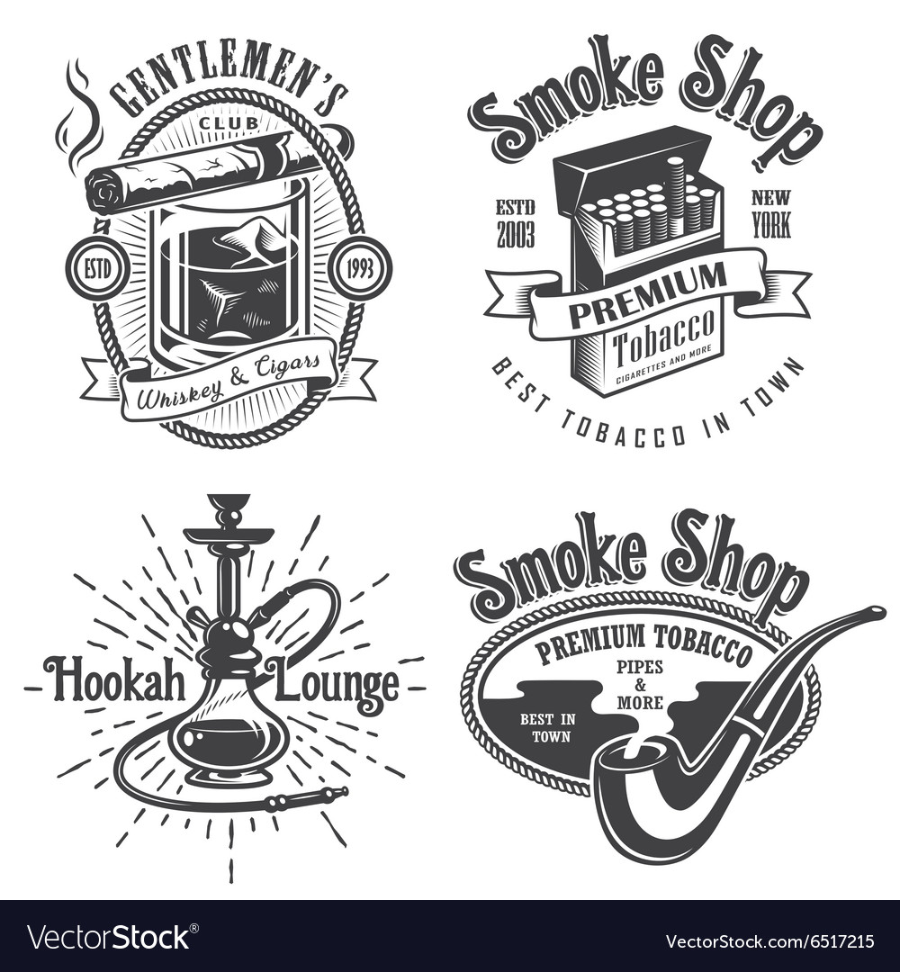 Set of vintage tobacco smoking emblems vector
