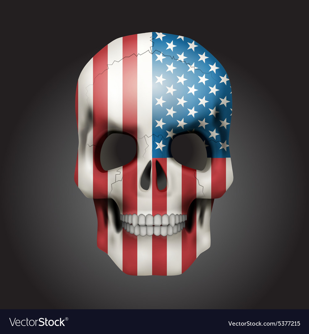 Skull with usa flag vector