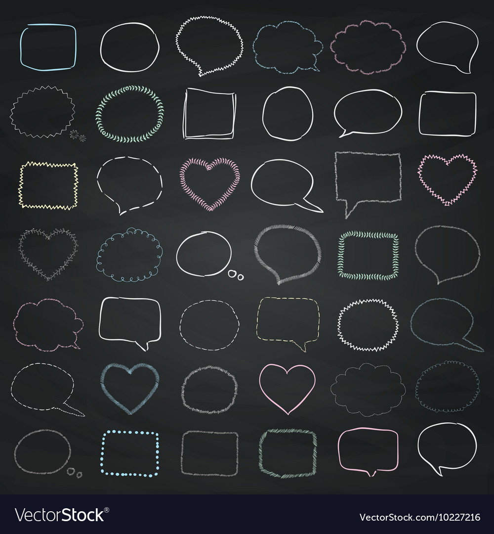Chalk drawing speech bubbles borders vector