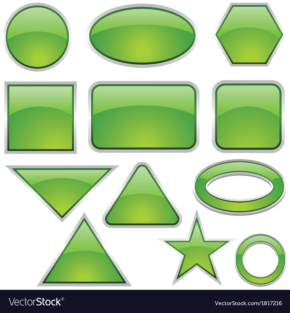 Green glass shapes vector