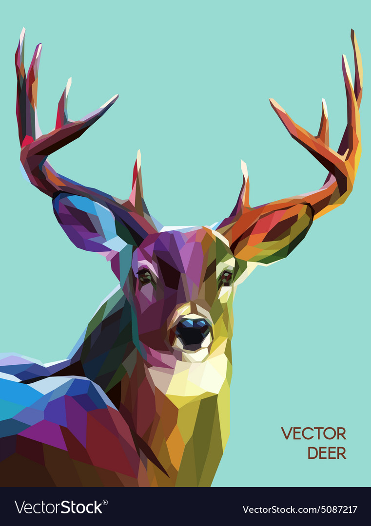 Deer polygonal eps 10 vector