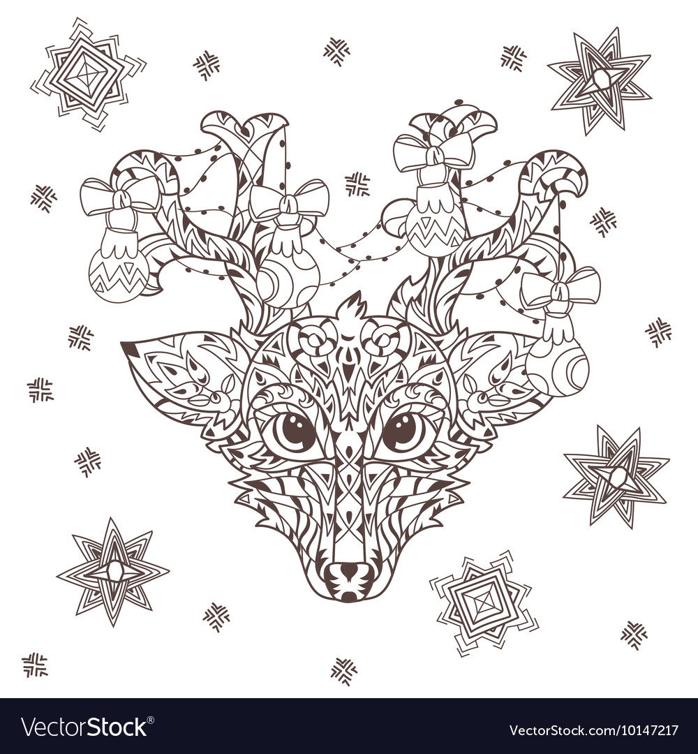 Hand drawn doodle outline deer head vector