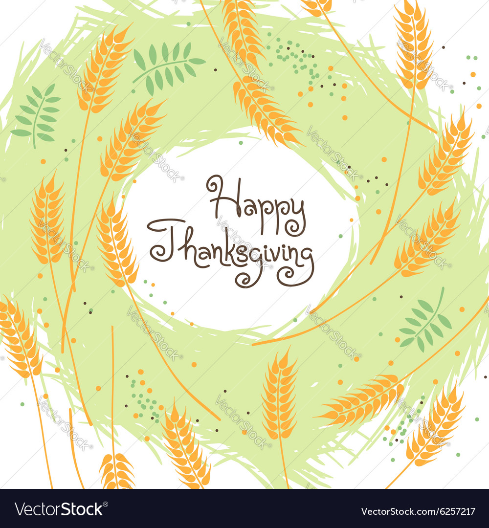 Happy thanksgiving fall background with wheat ears vector