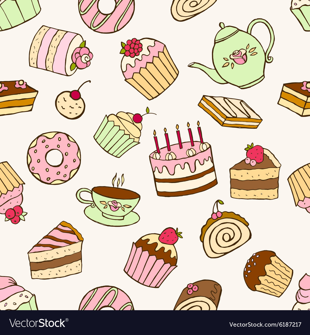 Seamless pattern of sweet cupcakes and cakes vector