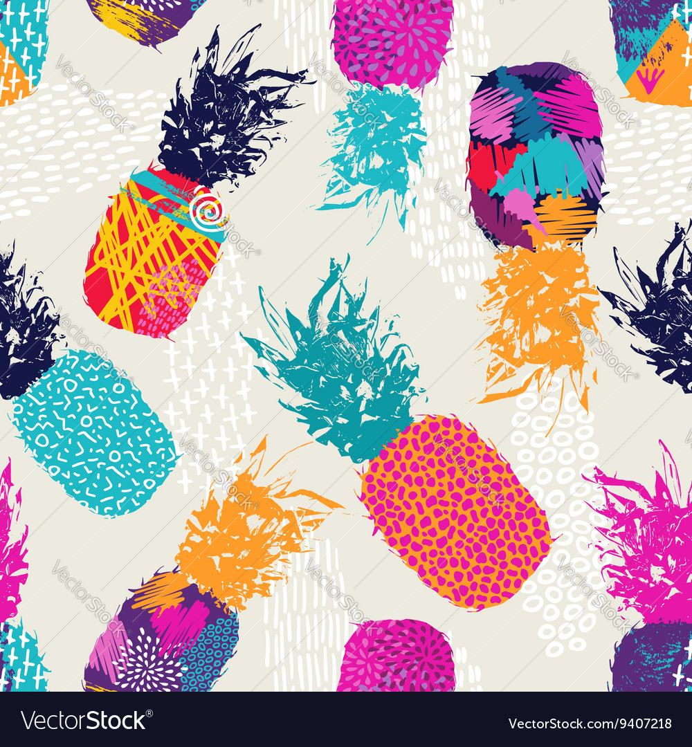 Color retro pineapple seamless pattern for summer vector