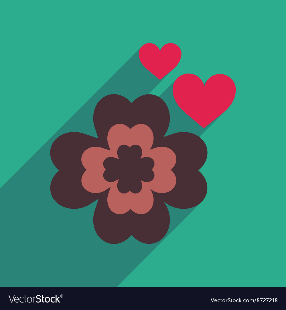 Flat web icon with long shadow clover vector