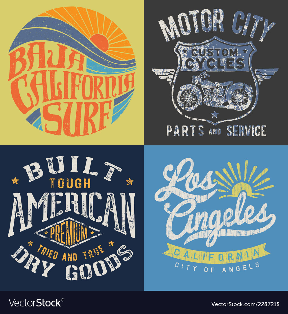 Vintage tshirt graphic set 2 vector