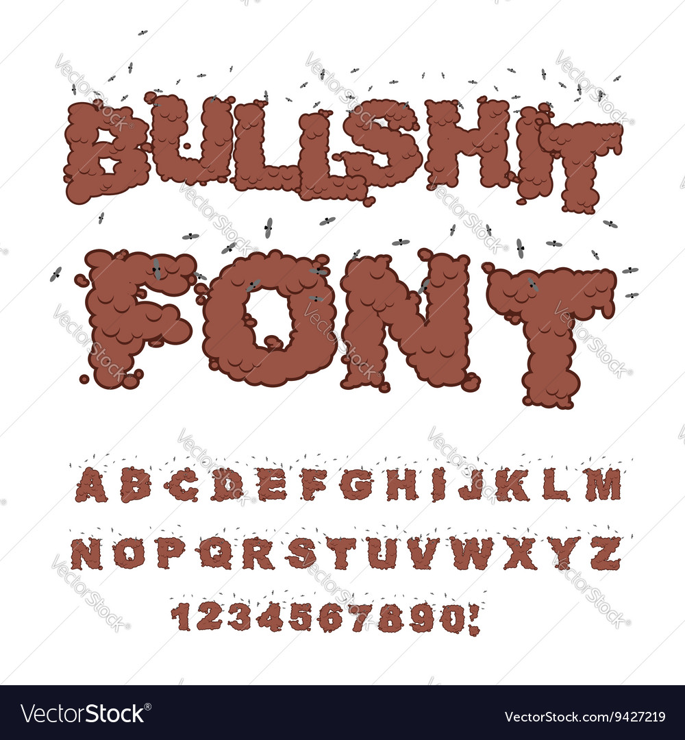 Bullshit font alphabet of poop with flies shit vector