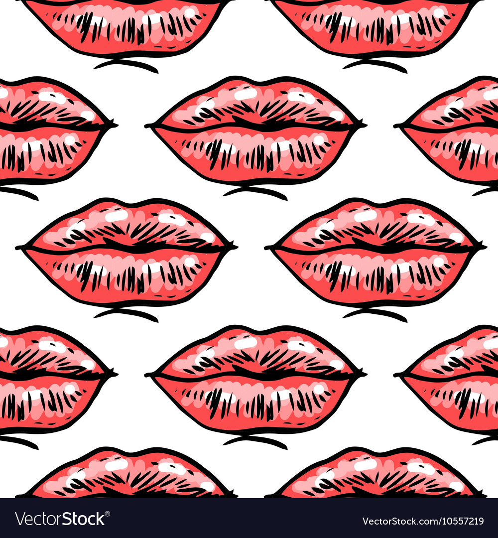 Fashion hand drawn female lips vector