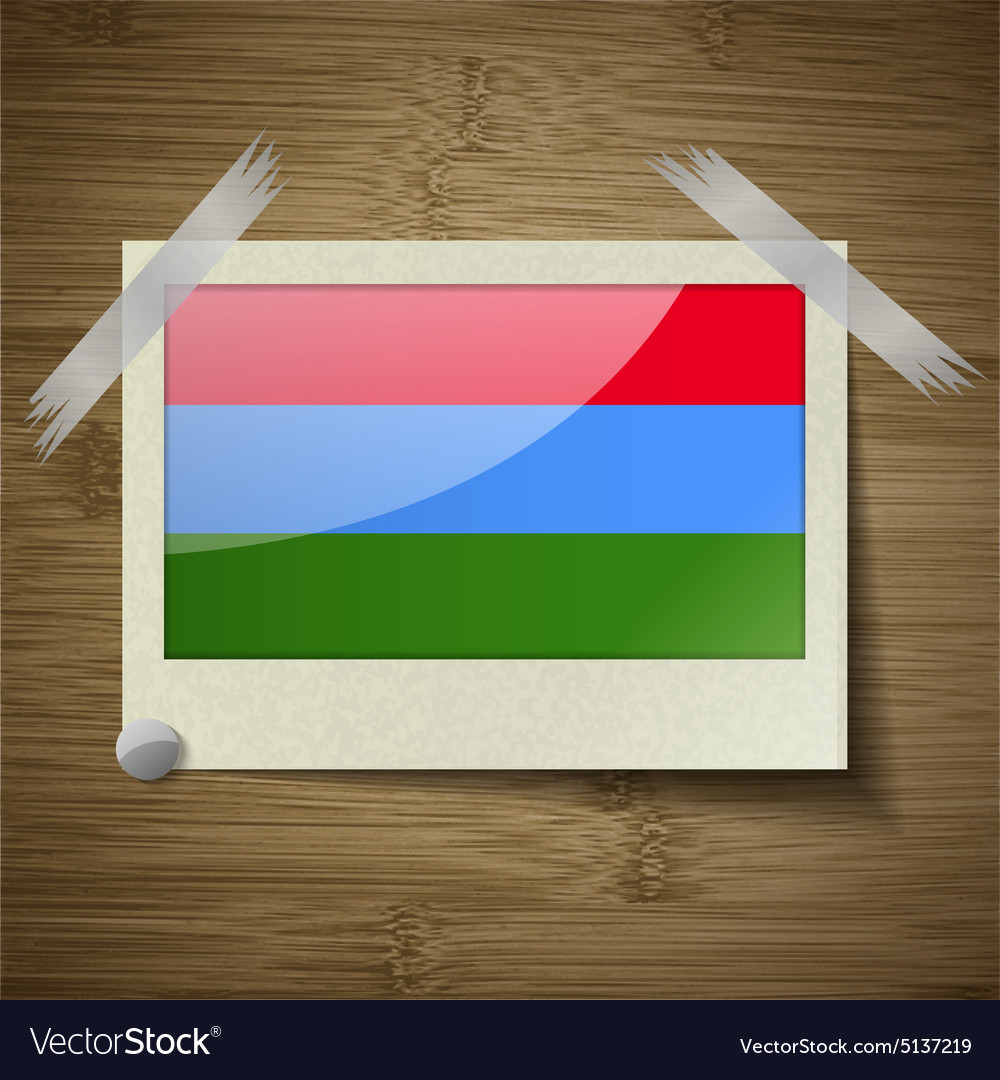Flags karelia at frame on wooden texture vector