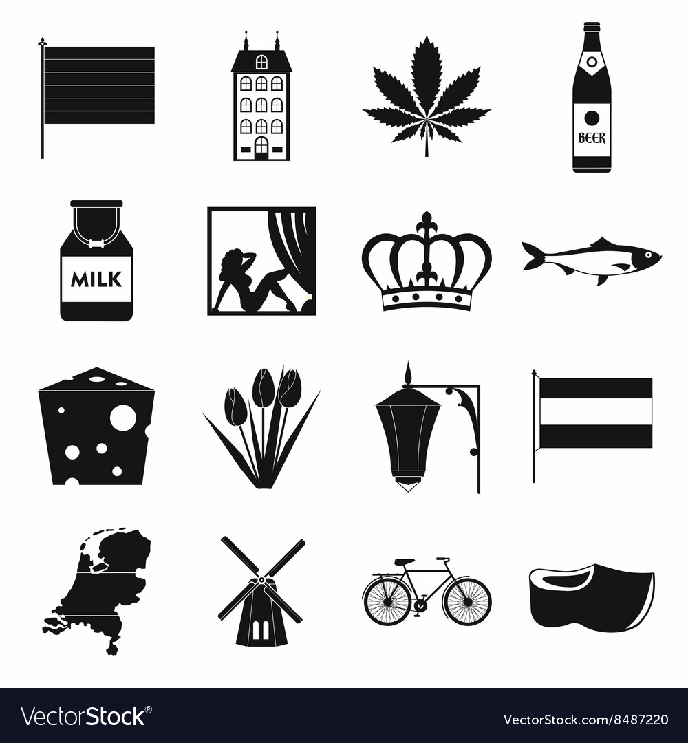 Netherlands icons set black simple style vector