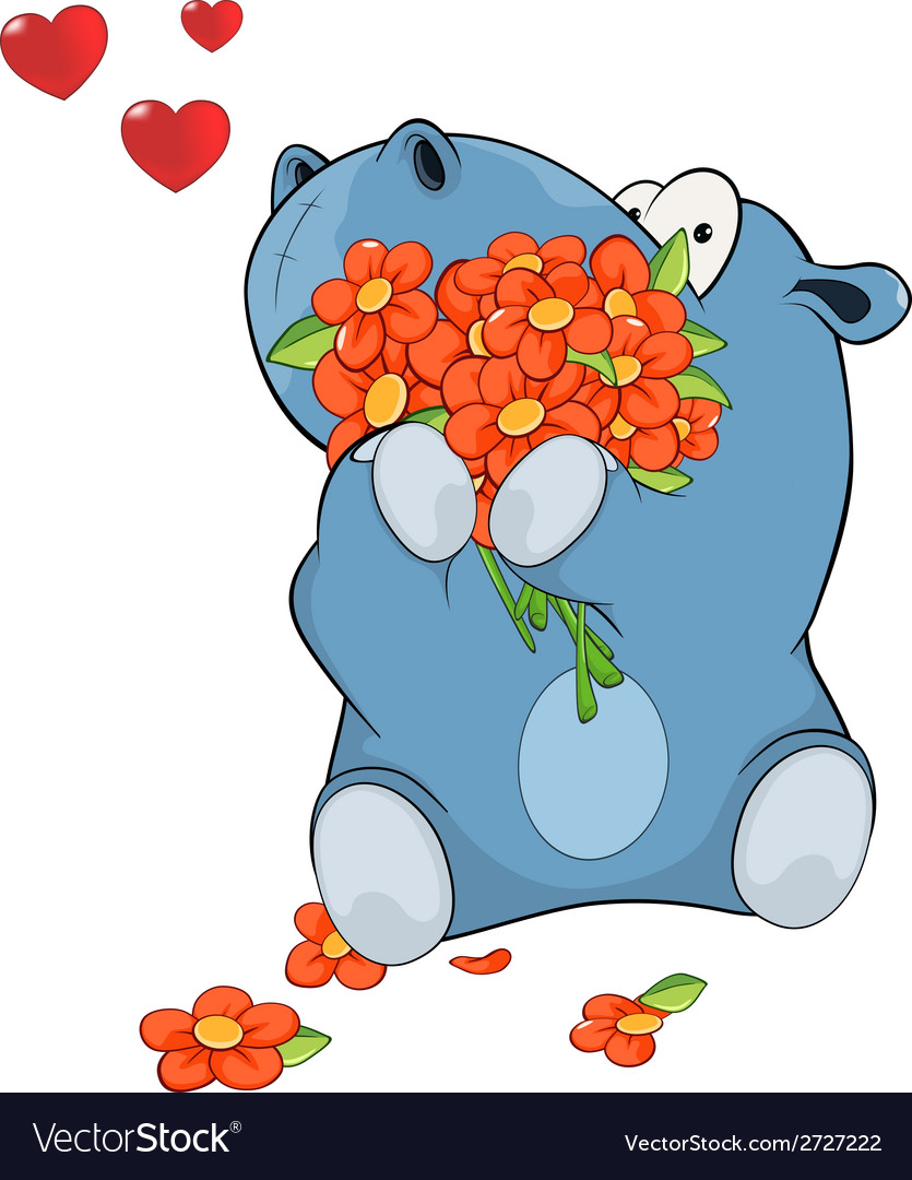 Little hippopotamus and flowers vector