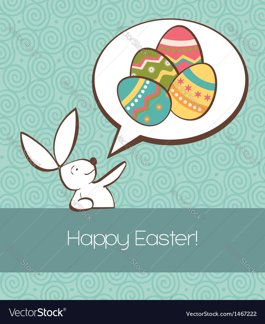Social easter bunny with painted egg vector