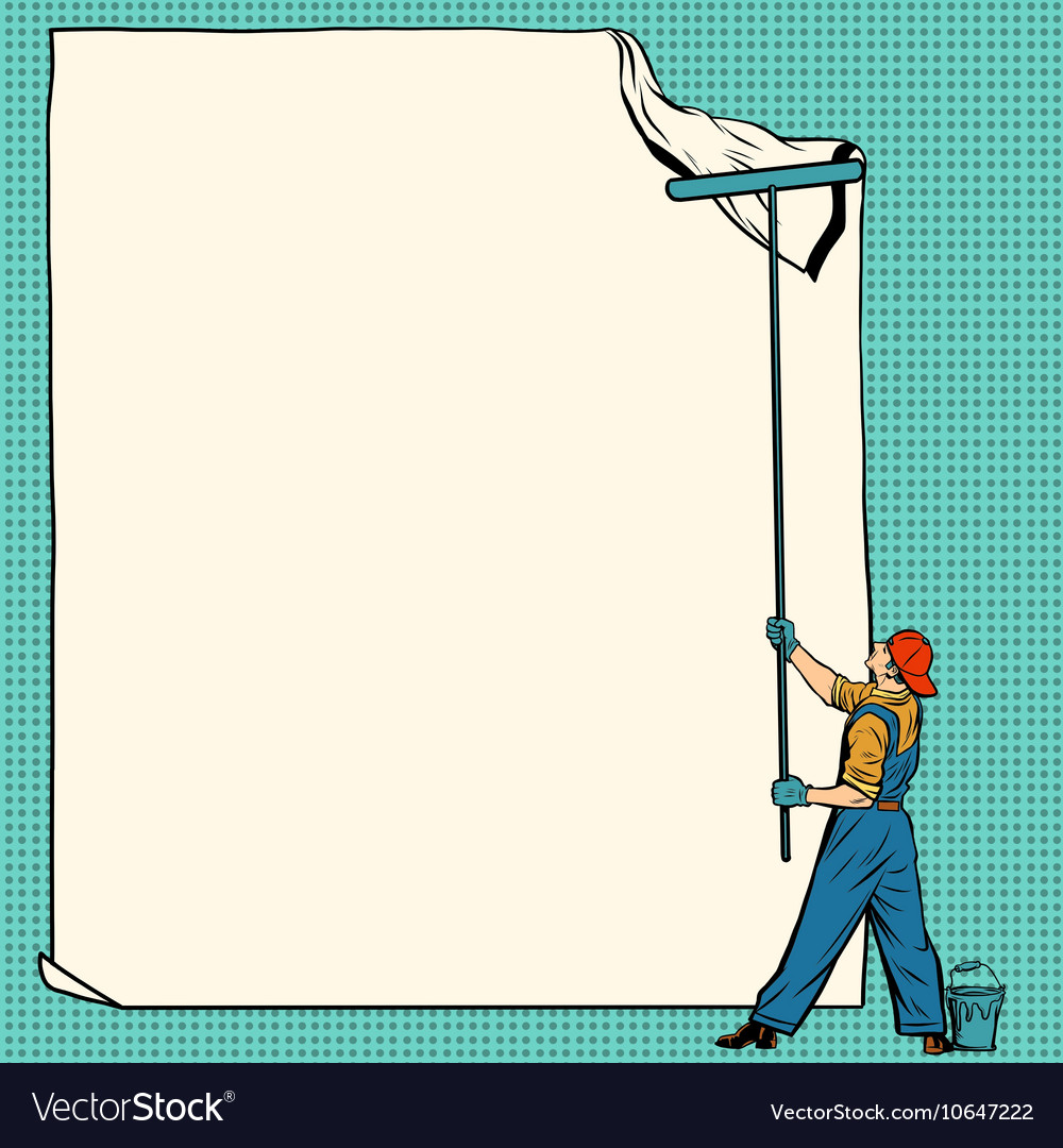 Worker painter sticks white poster vector