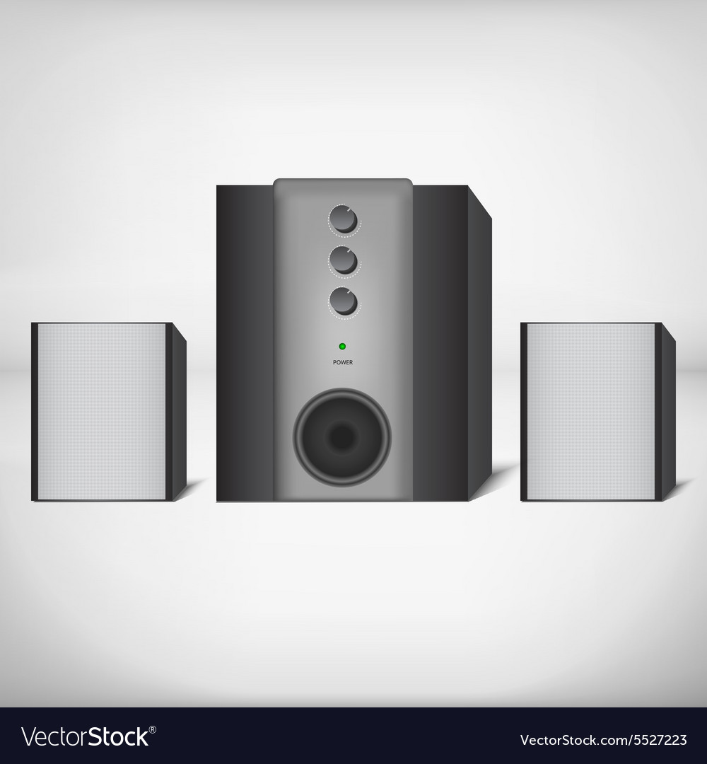 Stereo speakers with subwoofer vector