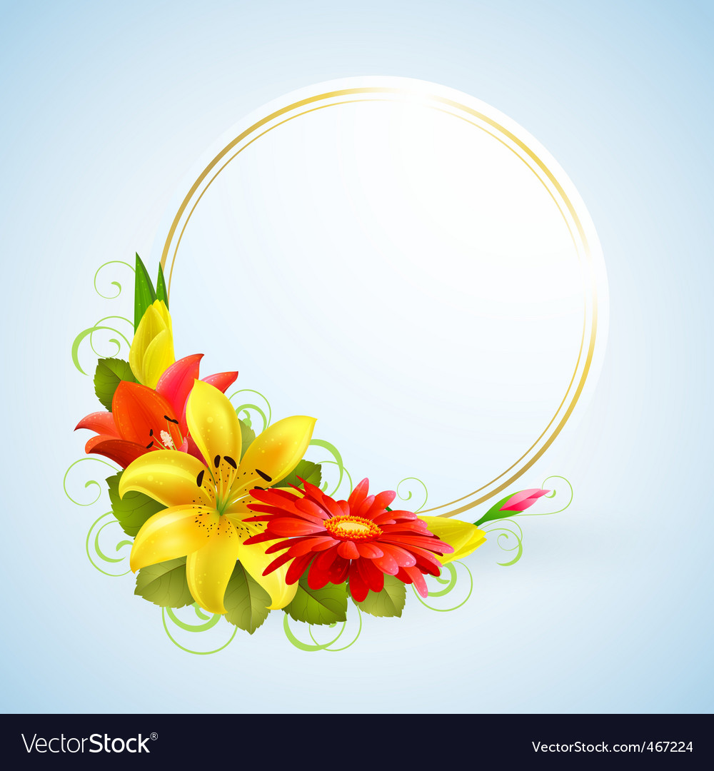 Flowers and place for text vector