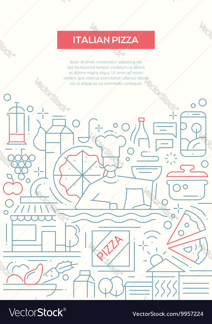 Italian pizza  line design brochure poster vector