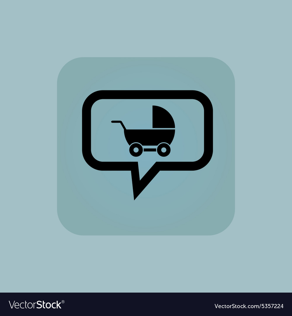 Pale blue pram message icon vector