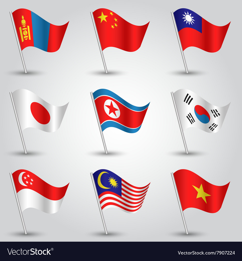 Set of flags countries of east asia vector