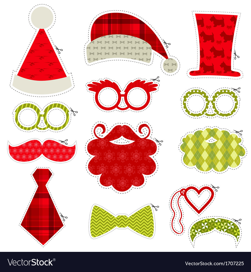 Christmas photobooth party set  glasses hats lips vector