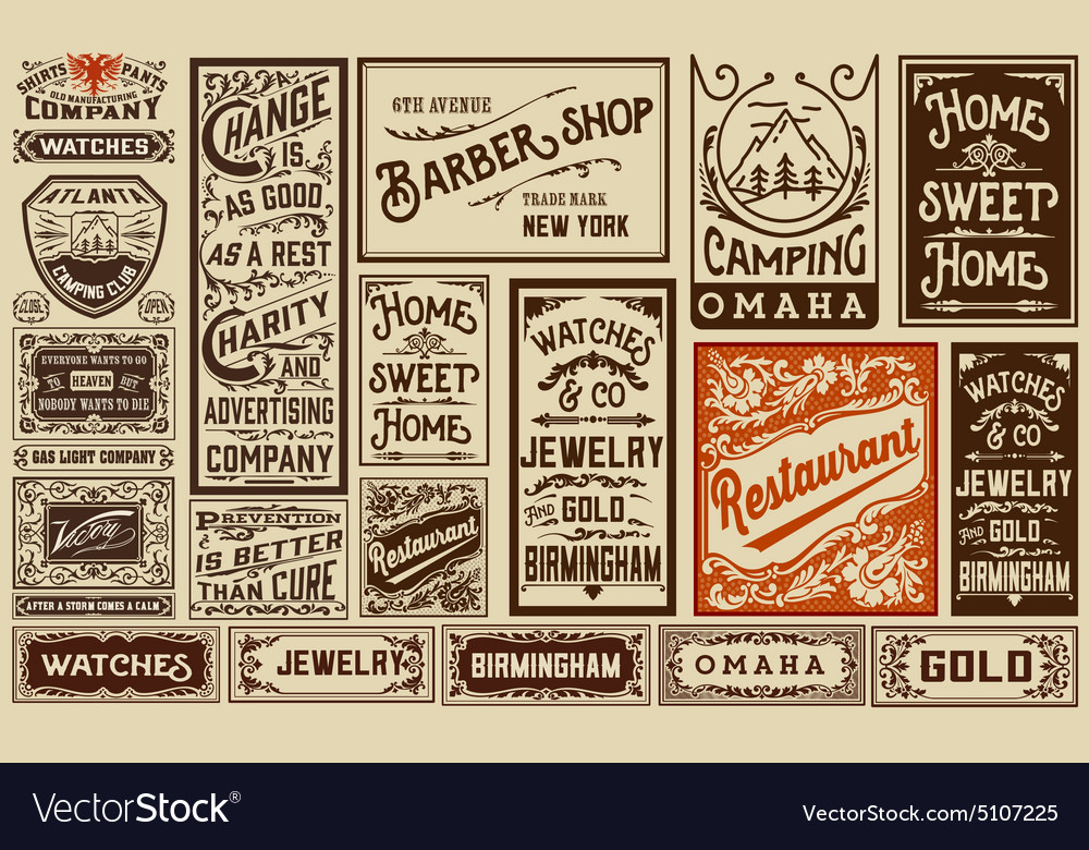 Mega pack old advertisement designs and labels  vector