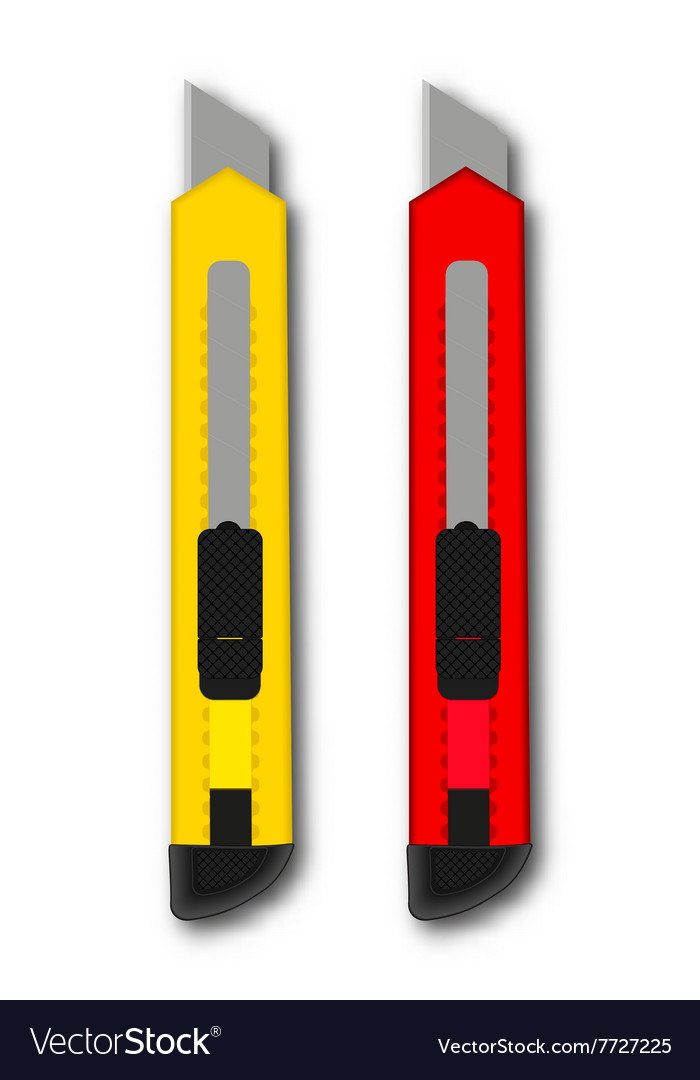 Stationery knife red and yellow vector