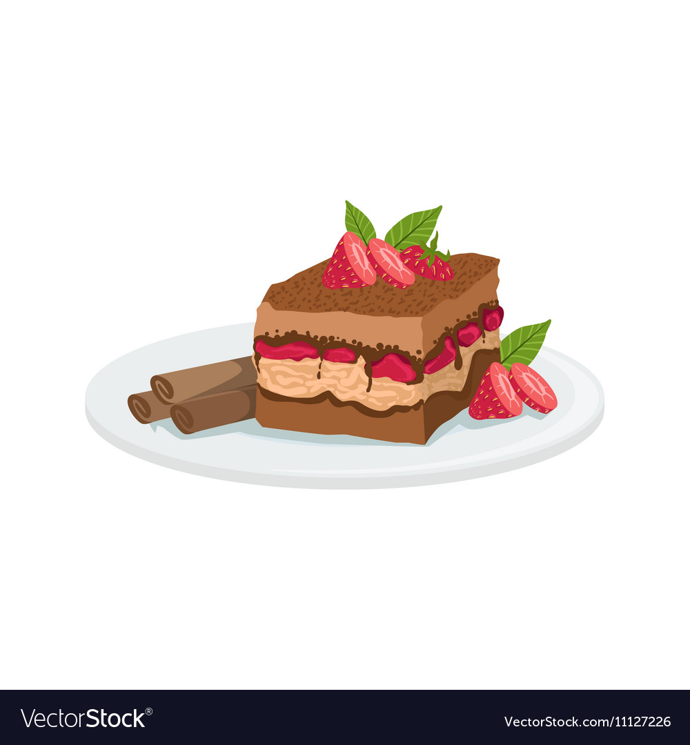 Tiramisu european cuisine food menu item detailed vector