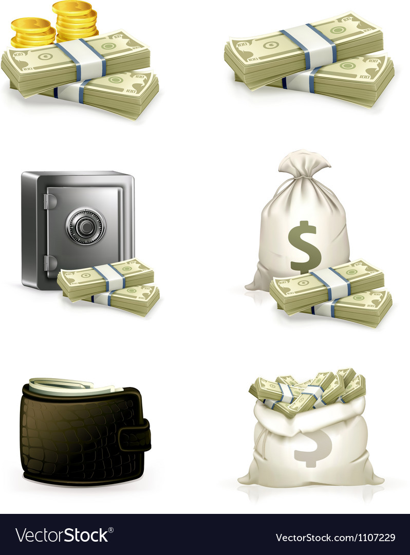 Paper money set vector