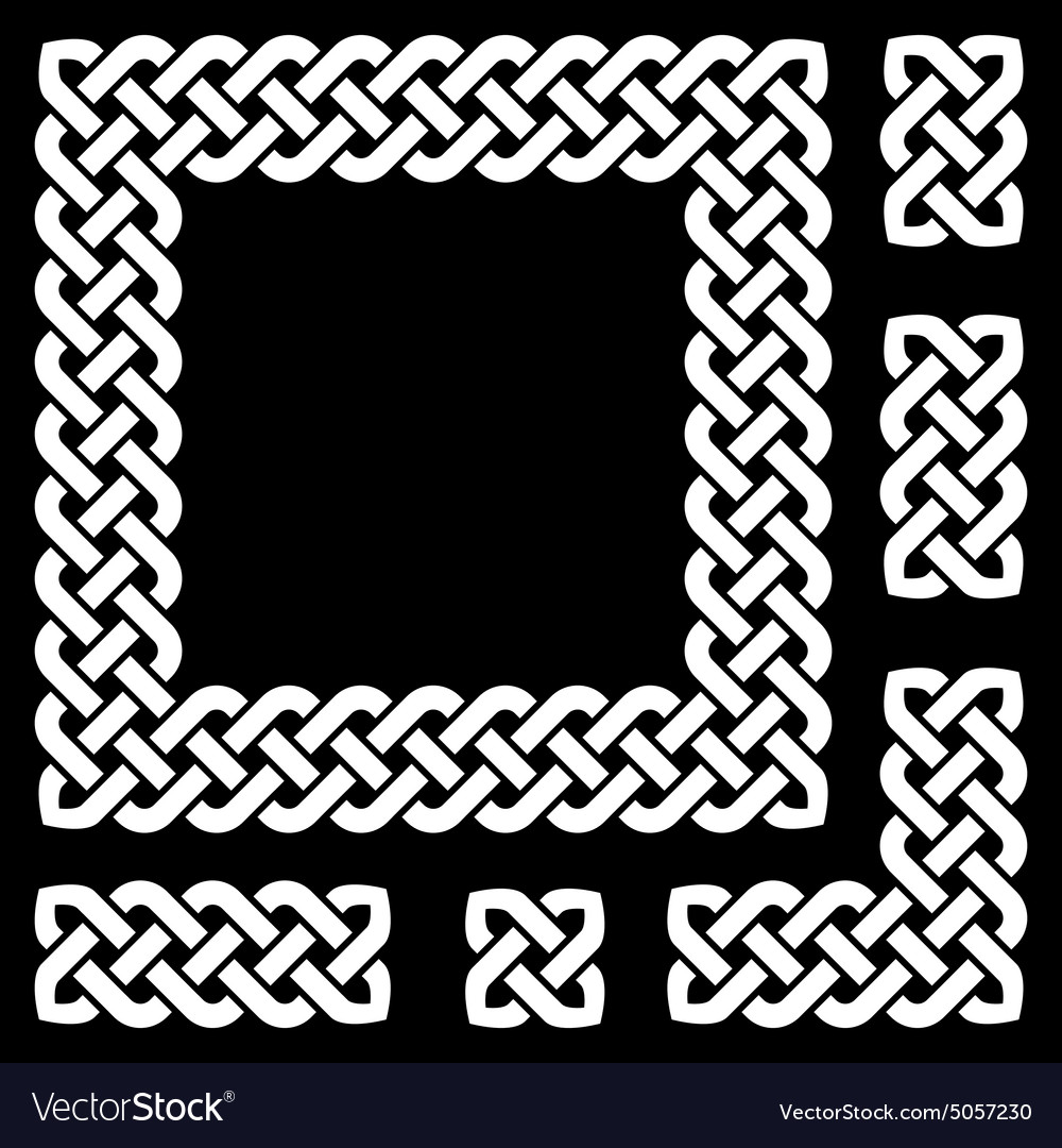 Celtic knot frame and design elements vector