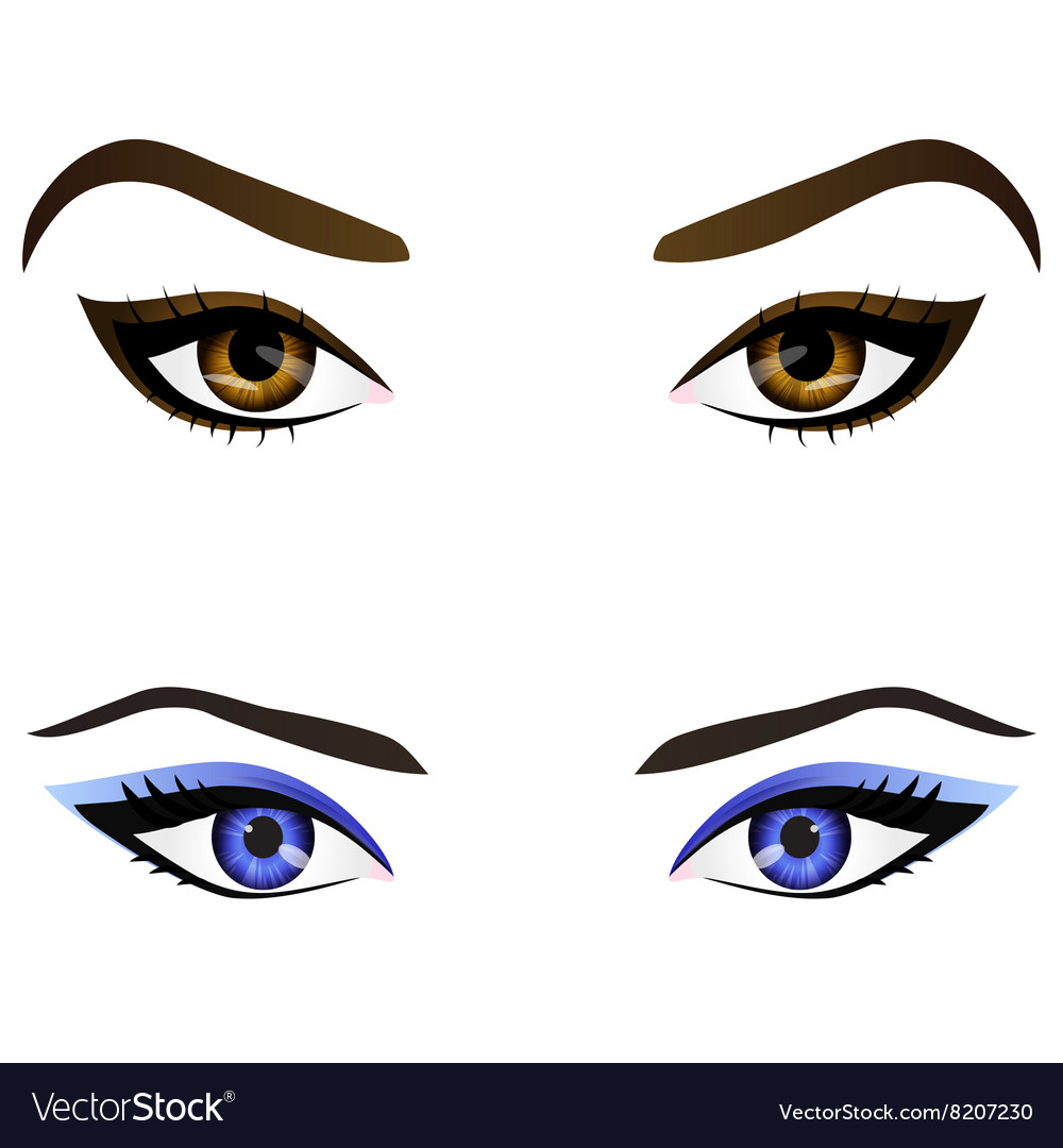 Set of realistic cartoon female eyes and vector