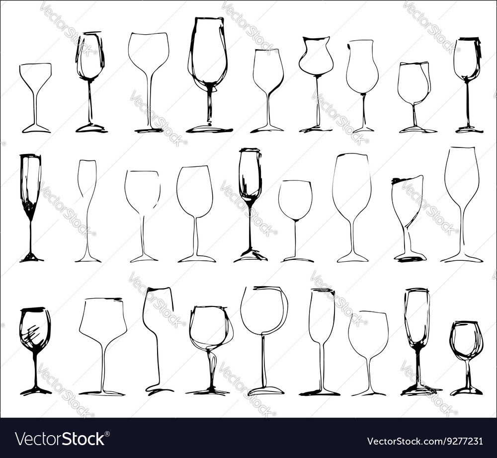 Wine glass set  collection of sketched vector