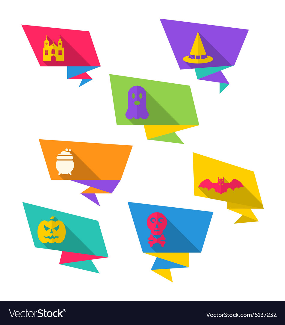 Origami paper banners with halloween symbols vector