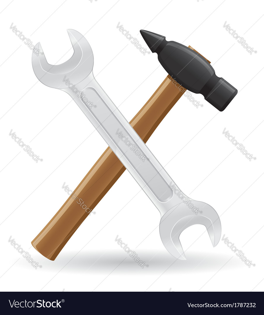 Tools hammer and spanner vector