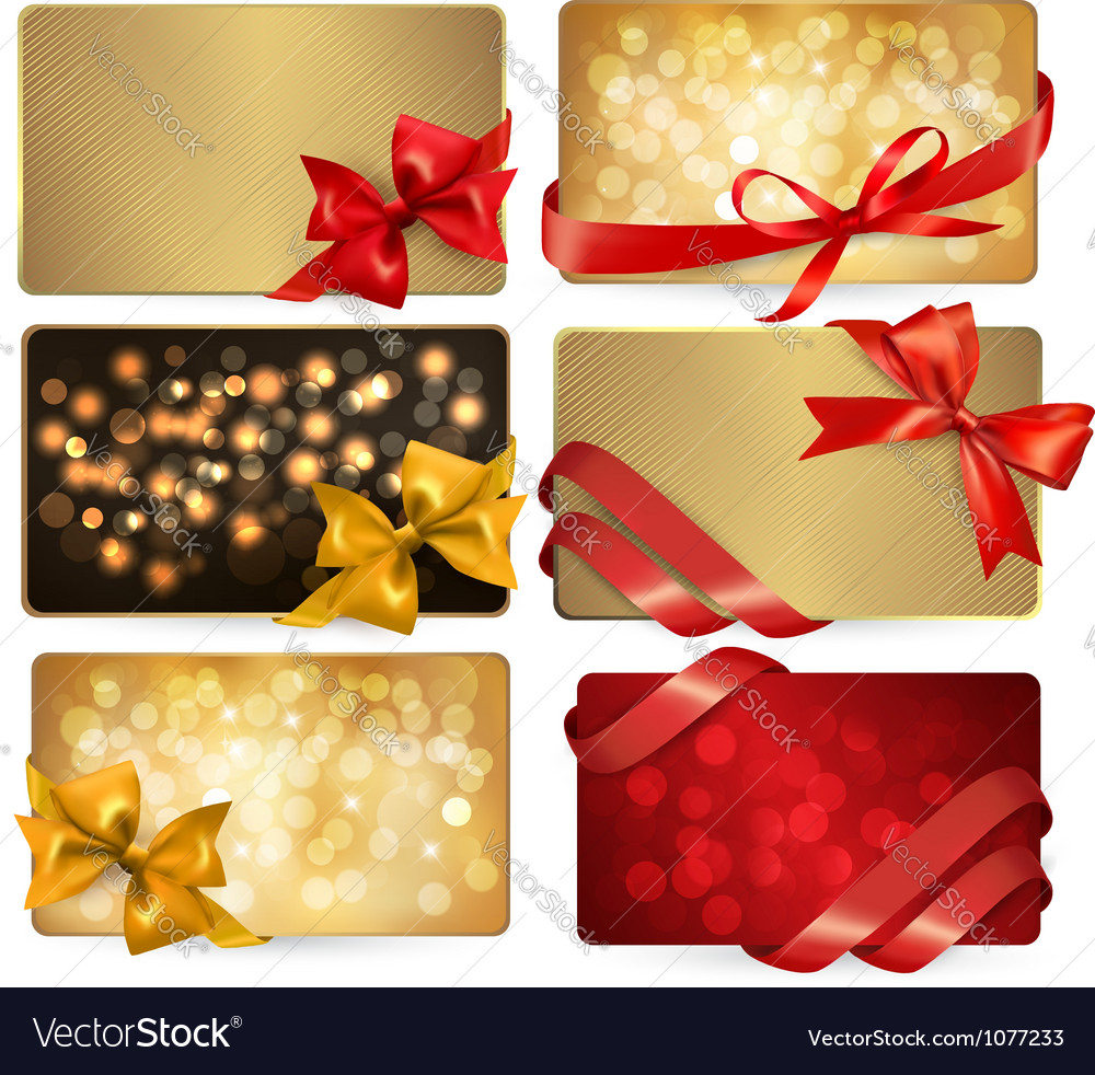 Gift cards with red gift bows vector