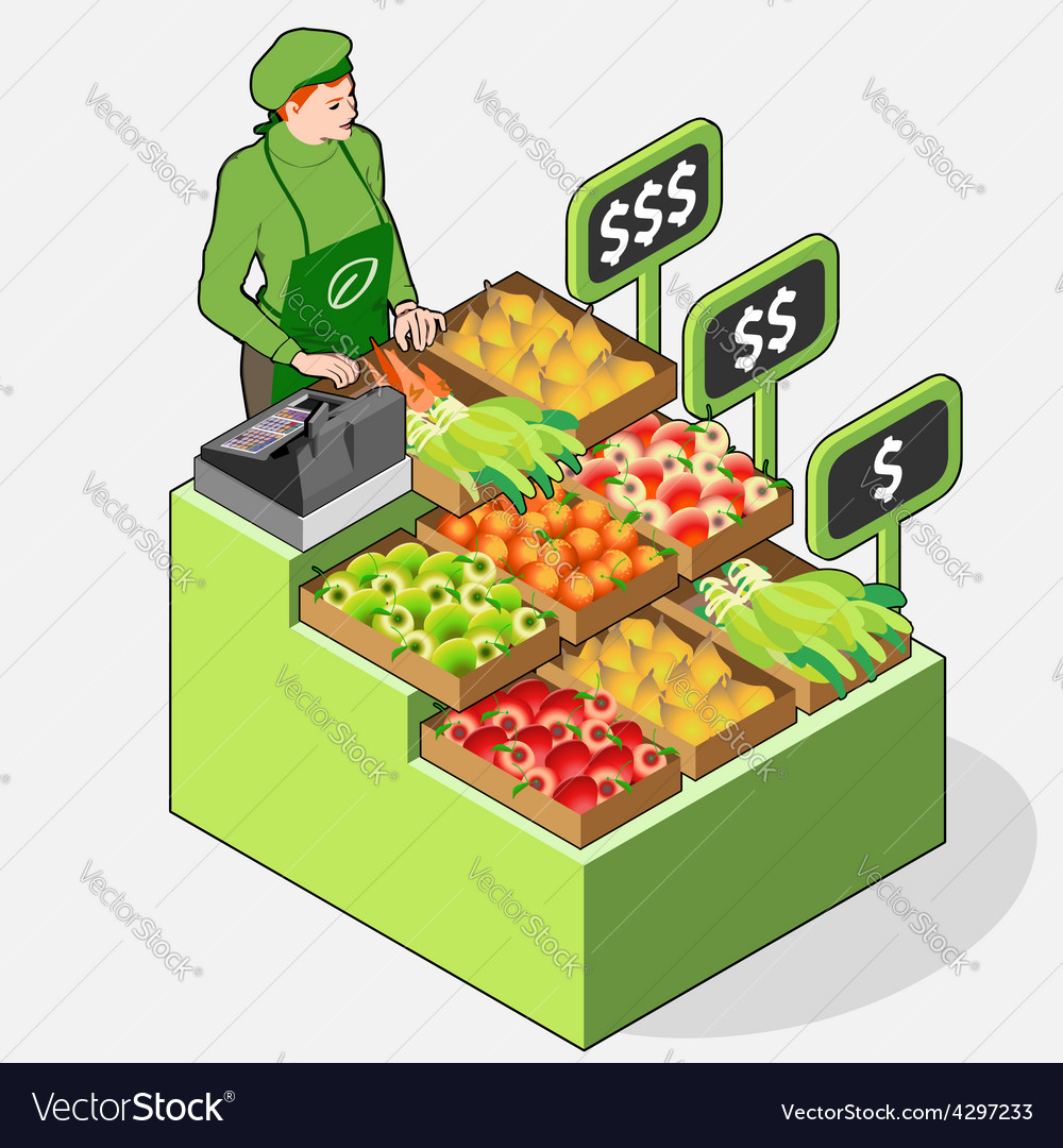 Isometric greengrocer shop  woman owner  front vector