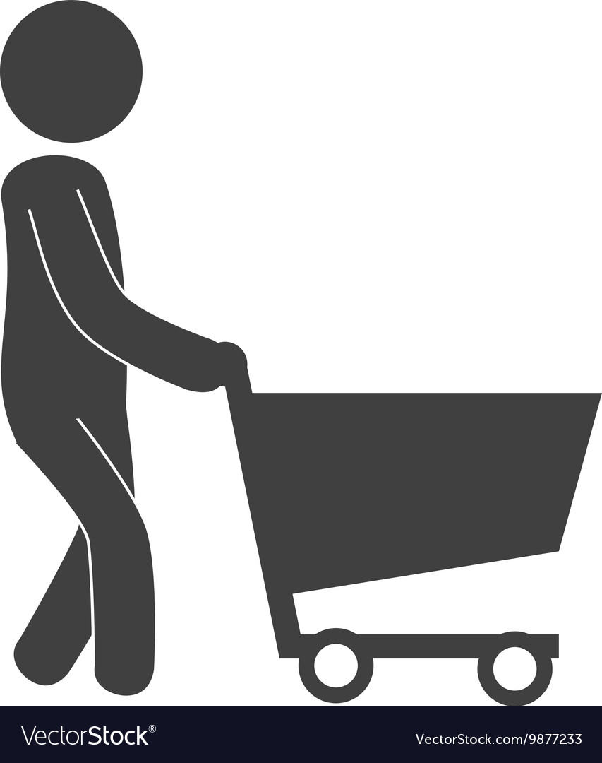 Man cart shopping icon vector
