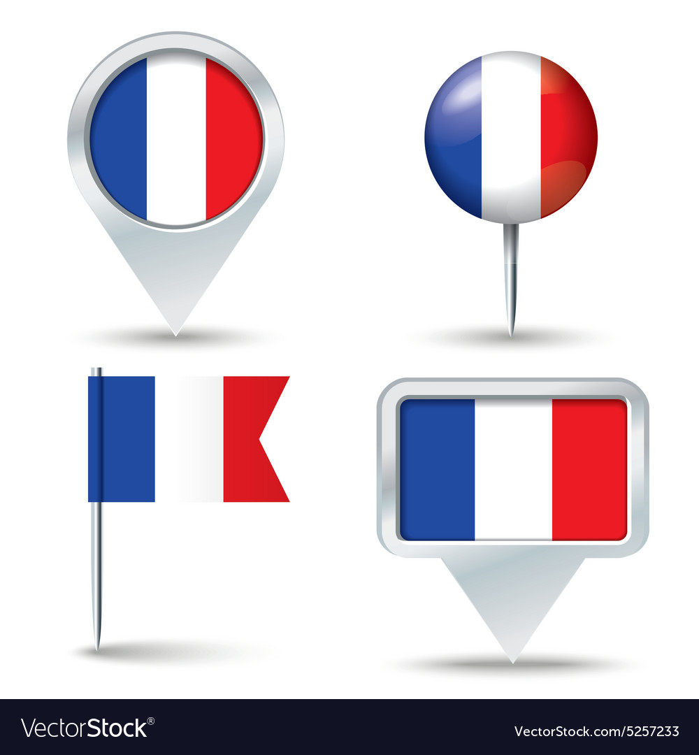 Map pins with flag of france vector