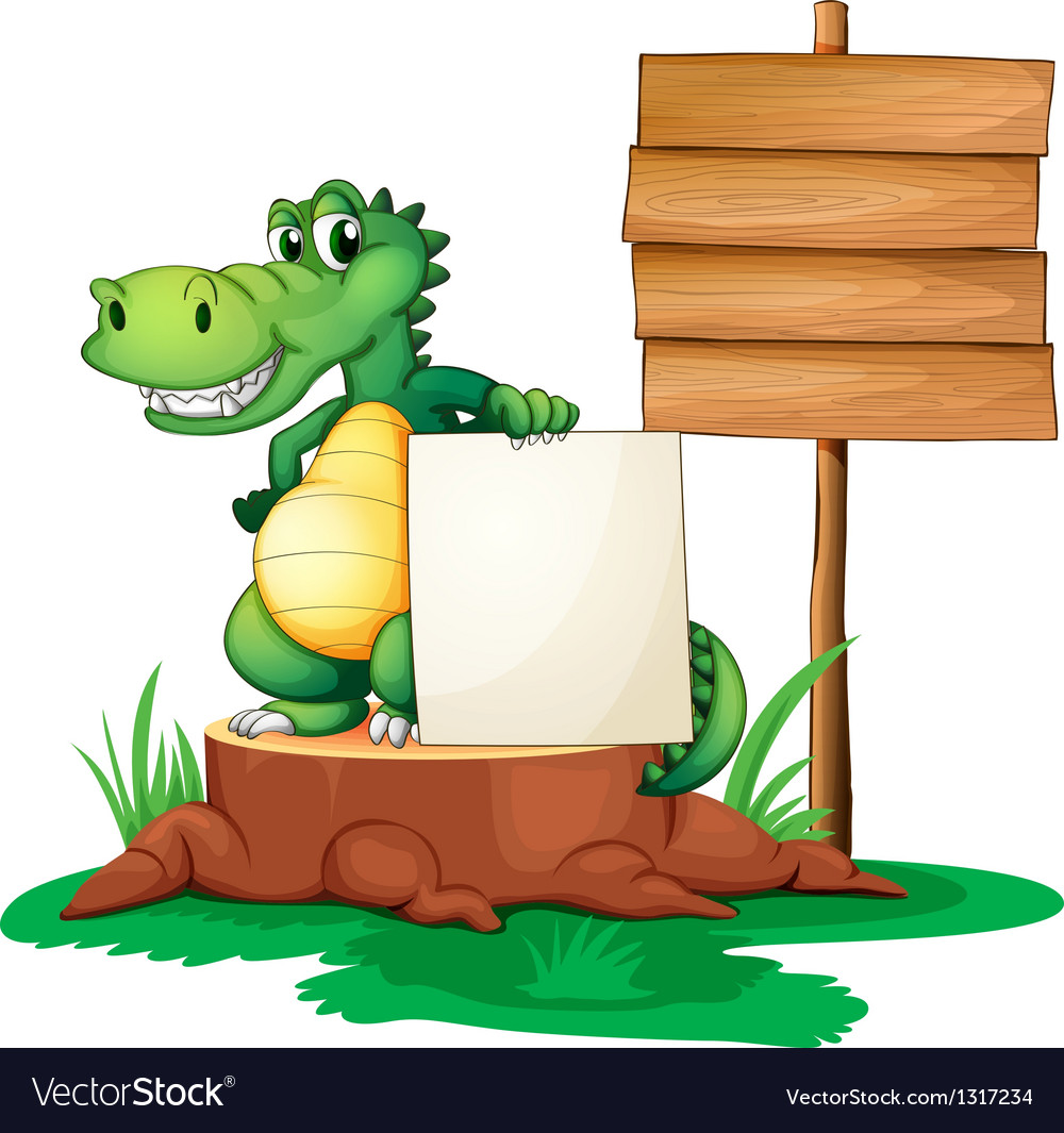 A crocodile beside the empty signages vector
