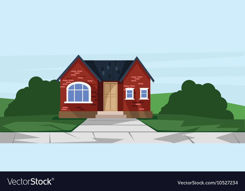Flat style red one floor house vector