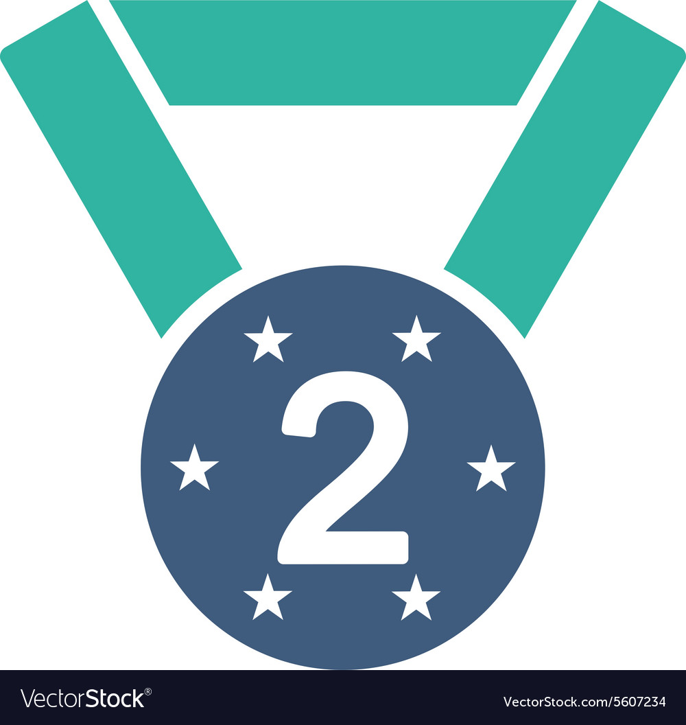 Second medal icon from competition success vector
