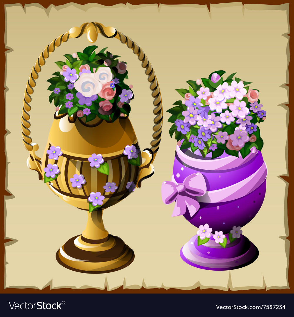 Two vases with flowers in different style vector