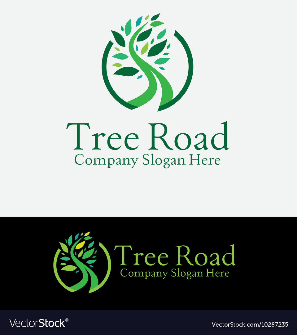Green tree road logo vector