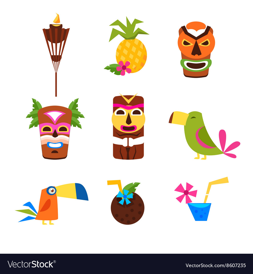 Hawaii themed set of icons vector