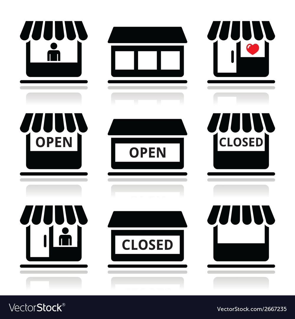 Shop or store supermarket icons set vector