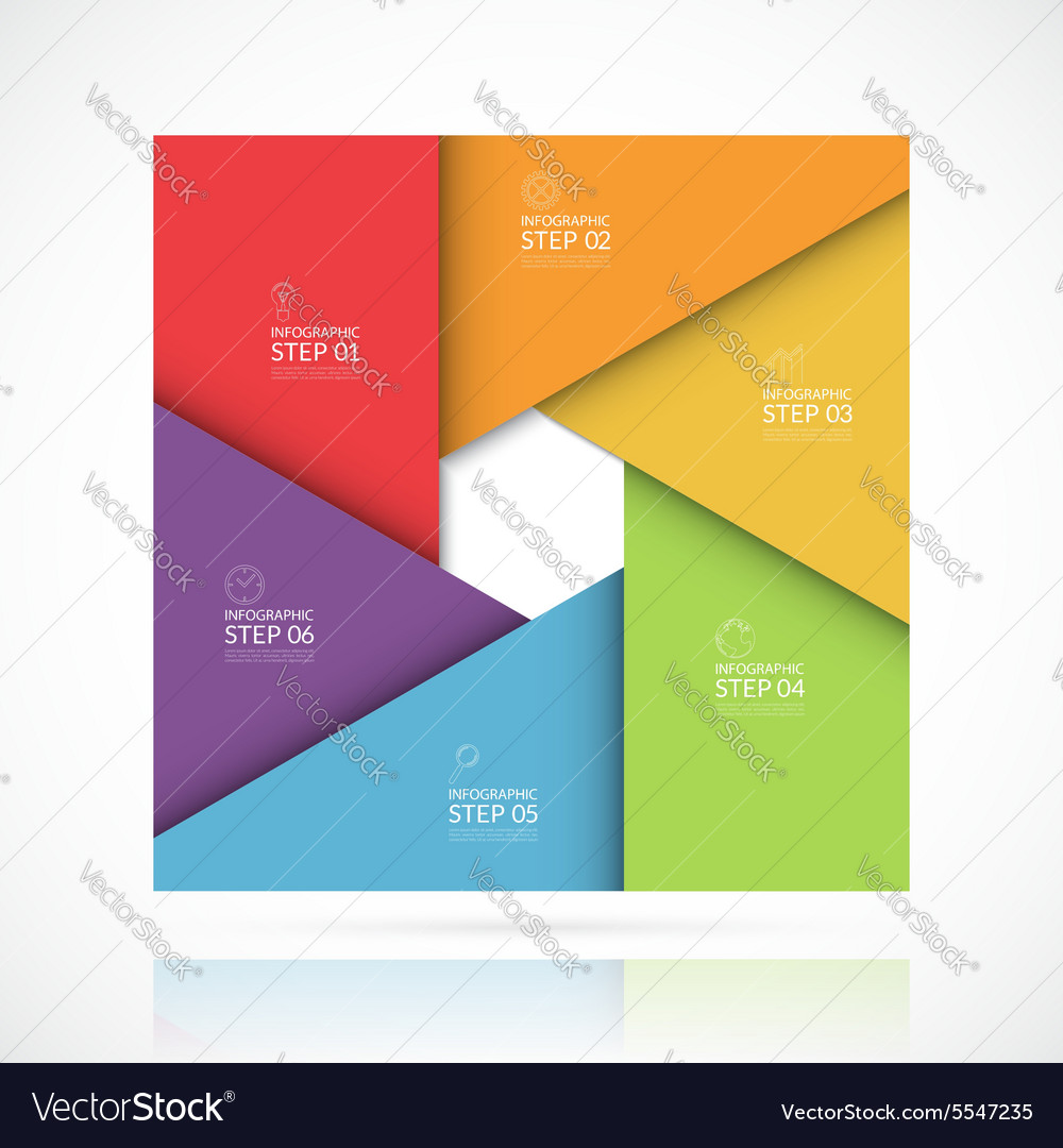 Square infographic template 6 steps vector