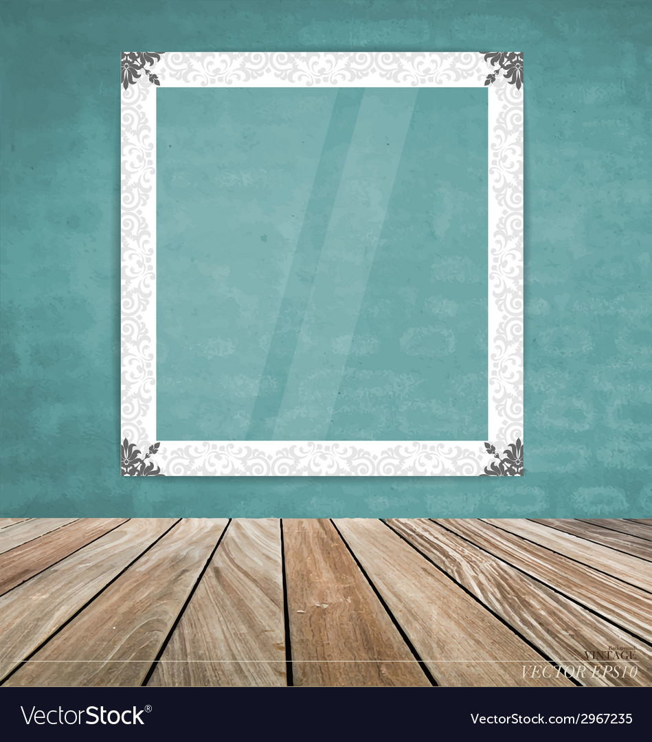 Vintage frame on brick wall vector