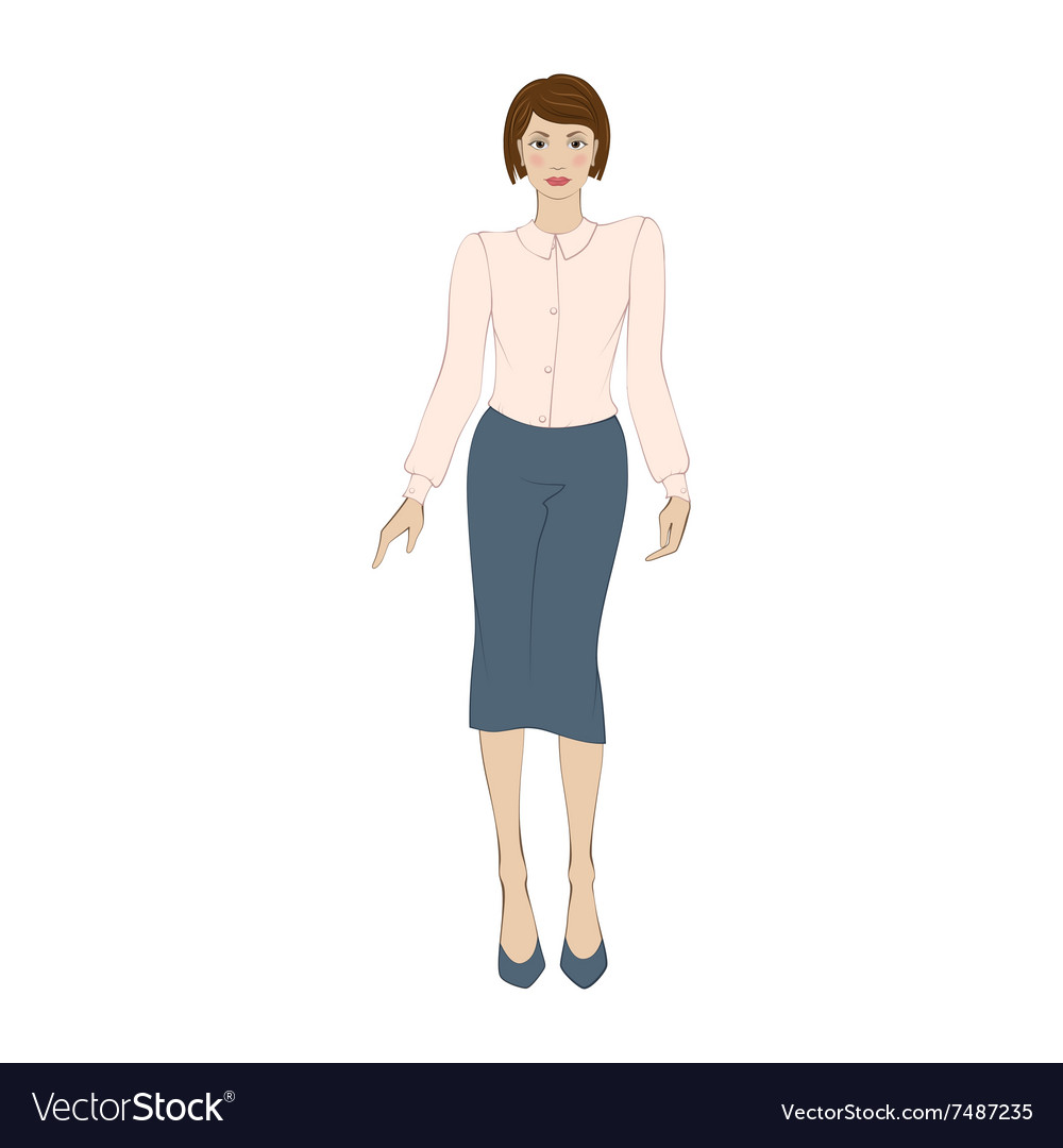Women in elegant office clothes flat icon vector
