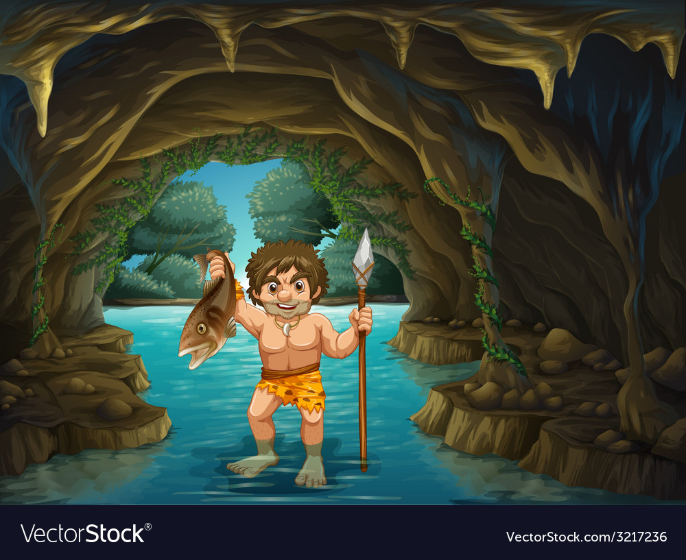 Caveman and fish vector